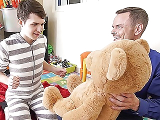 Twink Stepson And Stepdad Family Threesome With Stuffed Bear twink (gay) bareback (gay) big cock (gay)