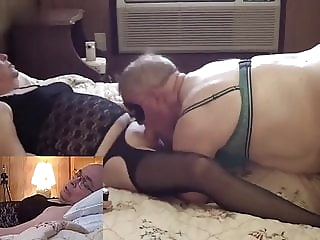 Mature Crossdresser blowjob ends in a sloppy snowball kiss amateur (gay) blowjob (gay) crossdresser (gay)