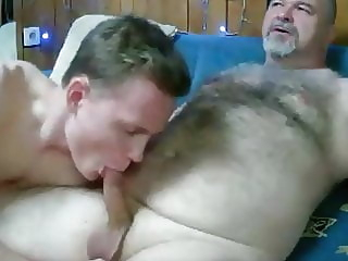 Daddy gets sucked by chaser amateur (gay) bear (gay) big cock (gay)