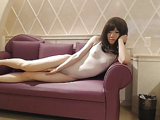Having fun in a white swimsuit amateur (gay) asian (gay) crossdresser (gay)