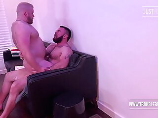 New Years Eve bareback bear blowjob