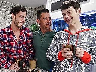Young Twink Boy Stepson's Threesome Christmas Fuck With Dad twink bareback big cock